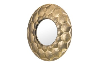 Hexagon Patterend Engraved Circle Wall Mirror