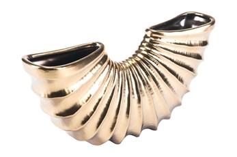 7 Inch Matte Gold Curved Vase
