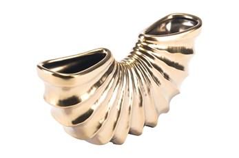 6 Inch Matte Gold Curved Vase