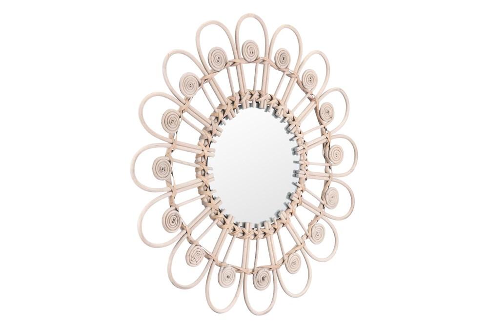 Rattan Daisy Shaped Wall Mirror