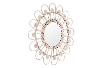 Rattan Daisy Shaped Wall Mirror