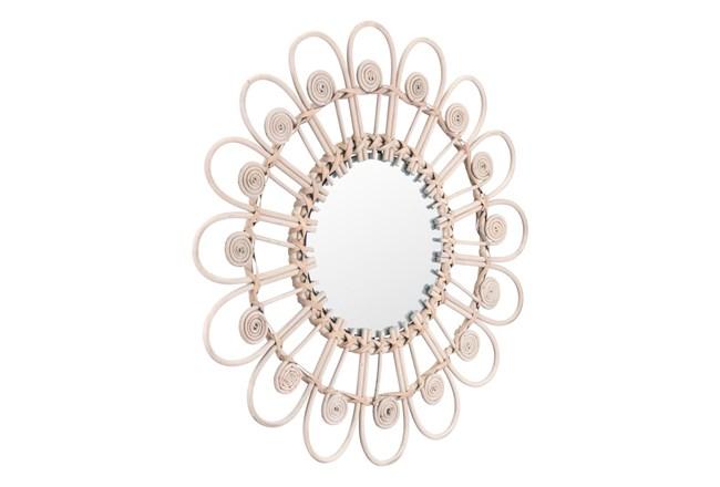 Rattan Daisy Shaped Wall Mirror - 360