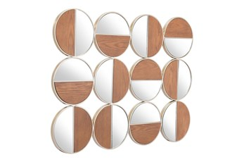Circular 2 Tone Wood Wall Mirror