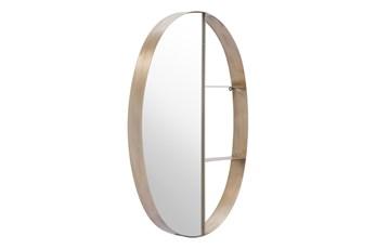 Oval Half Mirror Half 3 Tier Shelf