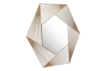 Lined Hexagon Wall Mirror