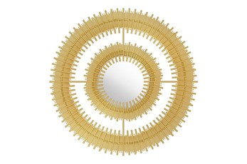 Circular Layered Gold Wall Mirror