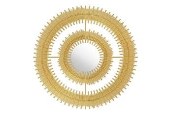 Circular Layered Gold Wall Mirror
