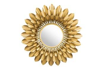 Gold Circular Sunflower Wall Mirror