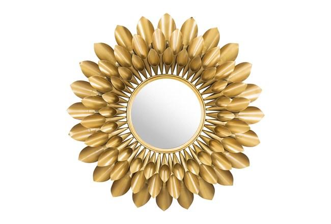 Gold Circular Sunflower Wall Mirror - 360