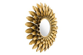 Gold Circular Sunflower Wall Mirror
