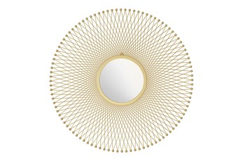 Gold Round Glow Wall Mirror