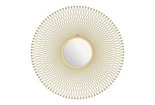 Gold Round Glow Wall Mirror - 360