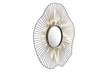 Black And Gold Abstract Wall Mirror
