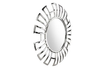 Silver Circle Wall Mirror With  Rectangle Cut Outs