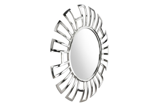 Silver Circle Wall Mirror With  Rectangle Cut Outs  - 360
