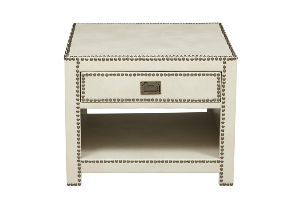 Ivory Leather Like Trunk End Table