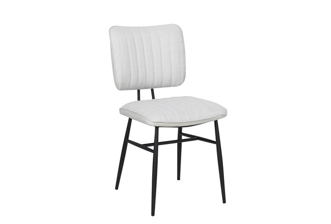 White Channeled Back Dining Side Chair - 360