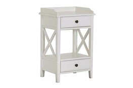 Two Drawer White X Side Table