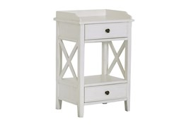 Two Drawer White X End Table
