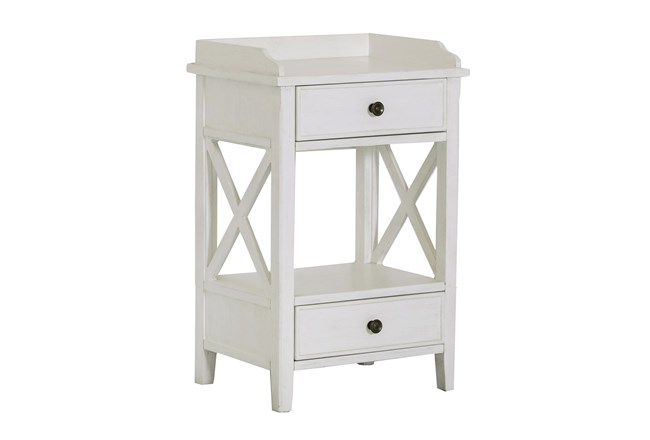 Two Drawer White X Side Table - 360