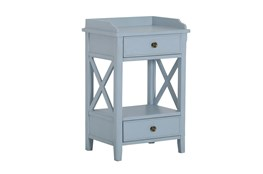 Two Drawer Blue X Side Table