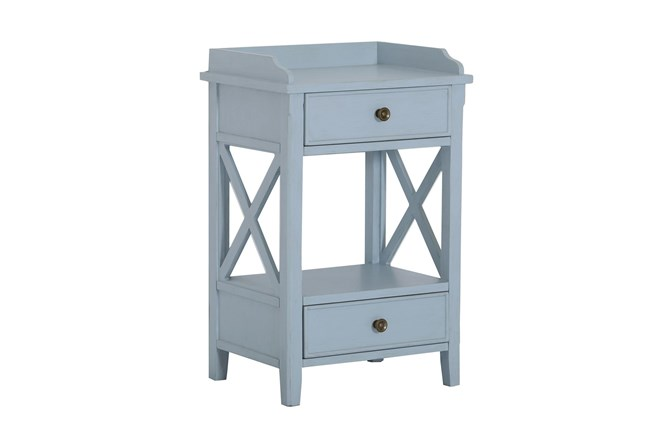 Two Drawer Blue X Side Table - 360