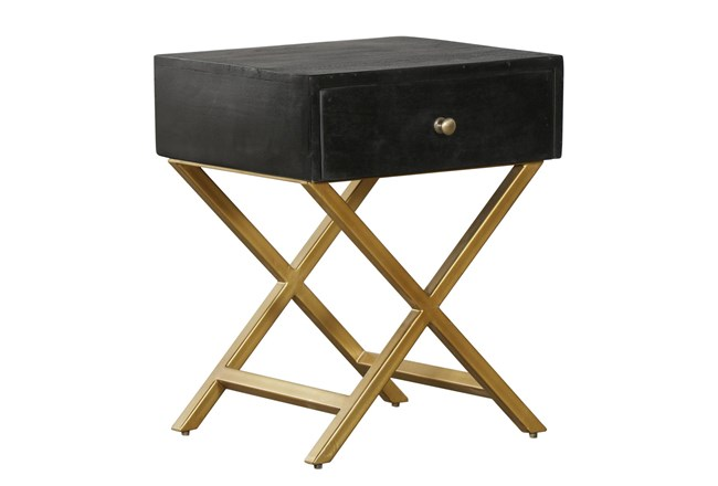 Black And Brass End Table - 360