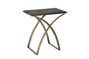 Iron End Table With Black Marble Top