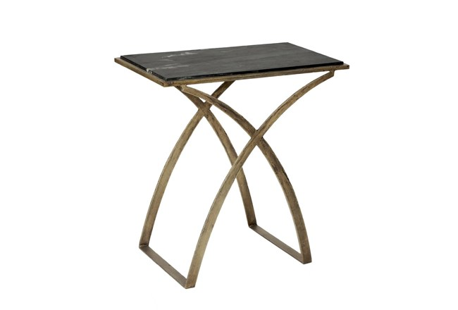 Iron Side Table With Black Marble Top - 360