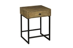 One Drawer Iron Base End Table