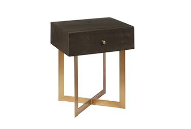 One Drawer Iron X Base End Table