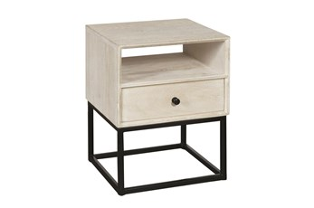 One Drawer Open Shelf Side Table