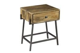 One Drawer End Table With Iron Detail