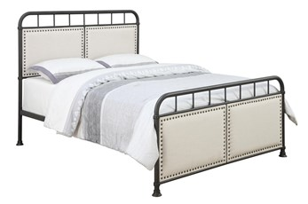Queen Metal And Fabric Bed With Nail Trim
