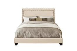 Full Cream Nailhead Trim Banded Border Upholstered Bed