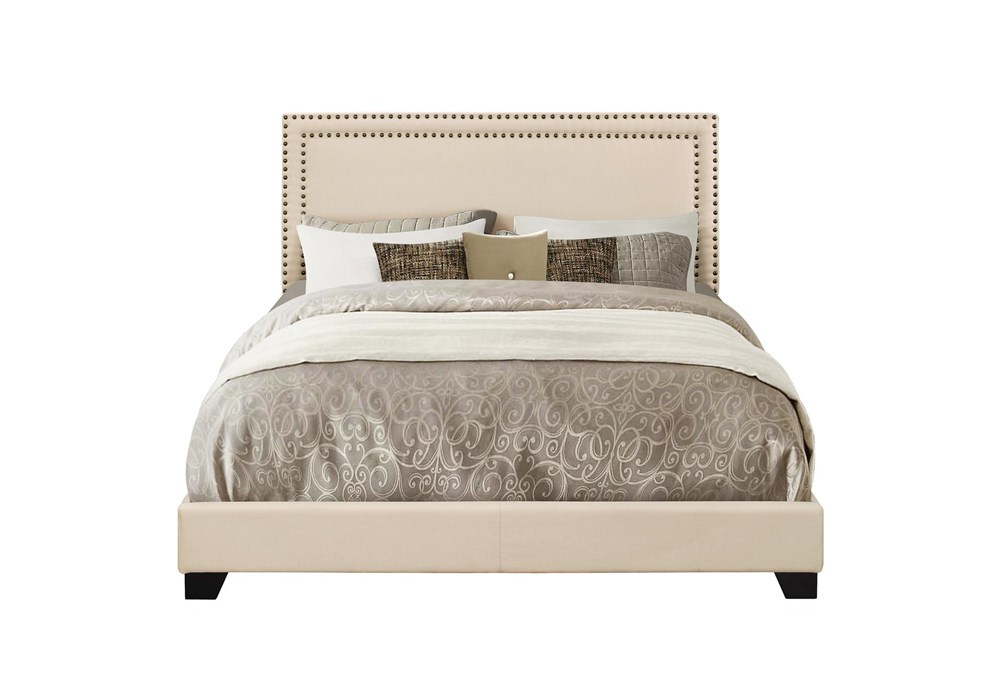 Queen Upholstered Bed With Nailhead Trim-Cream