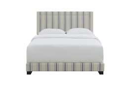 Queen Nautical Stripe Upholstered Bed