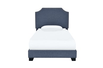 Twin Clipped Corner Upholsered Bed-Denim