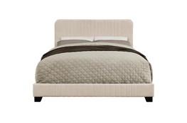Full Beige Rounded Corner Vertical Channel Upholstered Bed