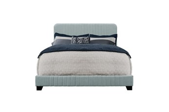 Blue Twin Mid-Century Upholstered Bed