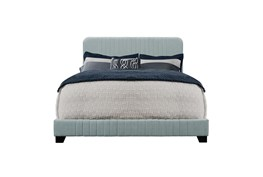 Blue Eastern King Mid-Century Upholsterd Bed