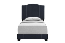 Twin Denim Stitched Camelback Upholstered Bed