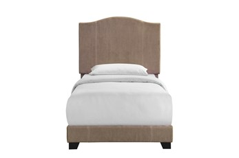 Twin Sand Stitched Camelback Upholstered Bed