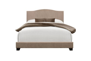 Queen Sand Stitched Camelback Upholstered Bed