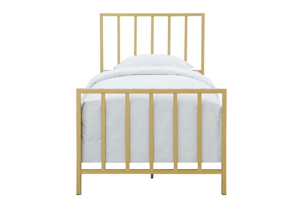 Brushed Gold Twin Metal Bed