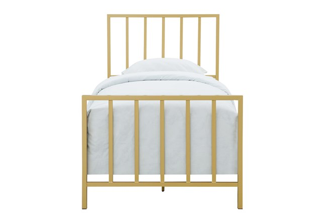 Brushed Gold Twin Metal Bed - 360