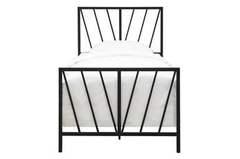 Chevron Pattern Twin Metal Bed