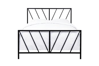 Chevron Pattern Queen Metal Bed
