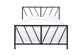 Chevron Pattern Queen Metal Bed