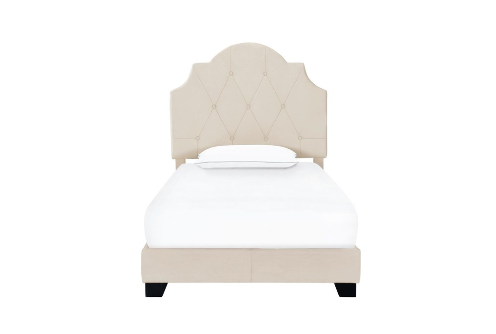 Twin Cream Button Diamon Tufted Saddle Back Upholstered Bed